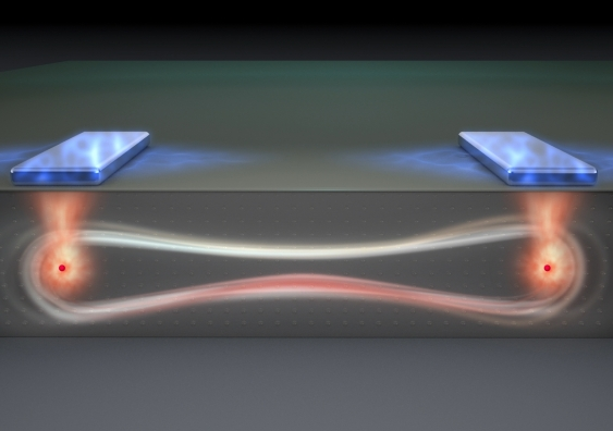 Artist's impression of a 'flip flop' qubit in an entangled quantum state (Image courtesy Tony Melov)
