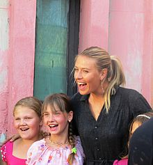 Maria Sharapova with the children of Gomel, in the area affected by the Chernobyl disaster