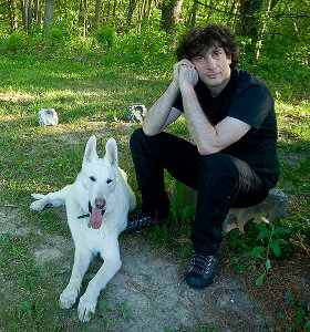 Neil Gaiman and his dog Cabal