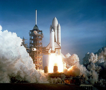 Space Shuttle Columbia launching for the first time (photo NASA)