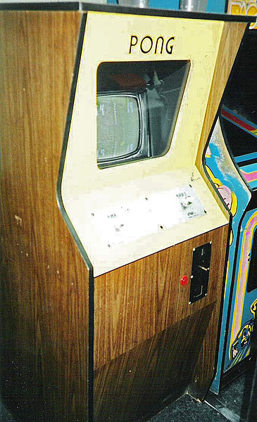 The cabinet version of the videogame Pong