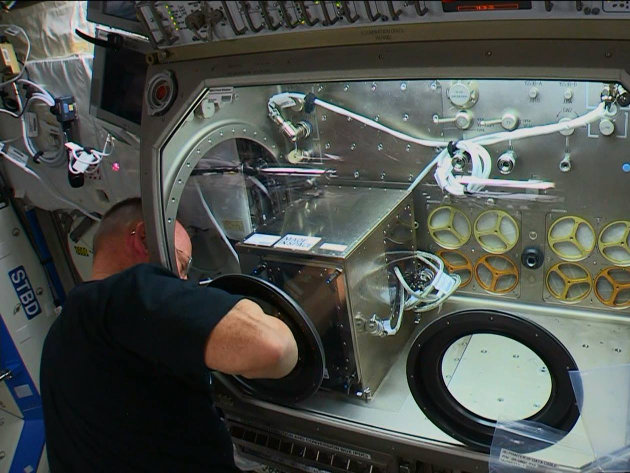 "NASA astronaut Barry ""Butch"" Wilmore while installing the 3D printer on the Internationa Space Station (Image NASA TV)"