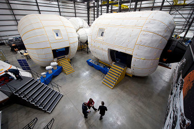A mockup of Bigelow Aerospace Space Complex Alpha (Photo NASA/Bill Ingalls)
