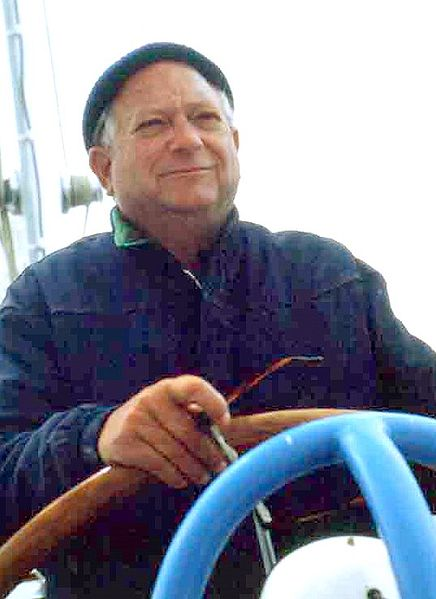 Jack Vance at the helm of his boat in the early '80s