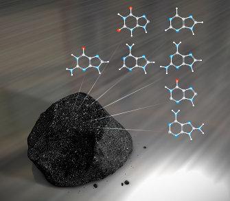 Complex organic molecules found in meteorites (artist concept NASA's Goddard Space Flight Center/Chris Smith)