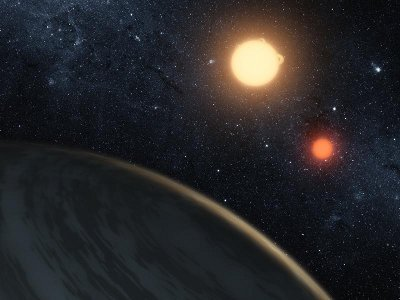 Artistic concept of the Kepler16 binary system (image NASA/JPL-Caltech/T. Pyle)