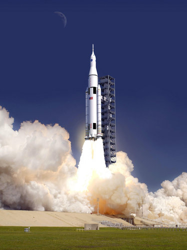 Artistic concept of the Space Launch System during a lift off (image NASA)