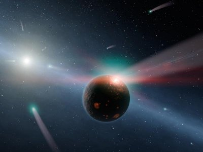Artist's conception showing a comet rain in the Eta Corvi star system (Image NASA/JPL-Caltech)