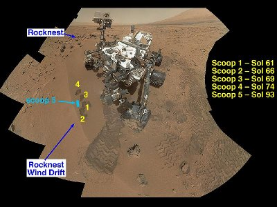 Composite image of the area called Rocknest where the Mars Rover Curiosity took its soil samples (Image NASA/JPL-Caltech/MSSS)
