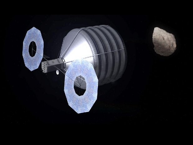 Artistic concept of a spacecraft capturing an asteroid (Image NASA/Advanced Concepts Lab)