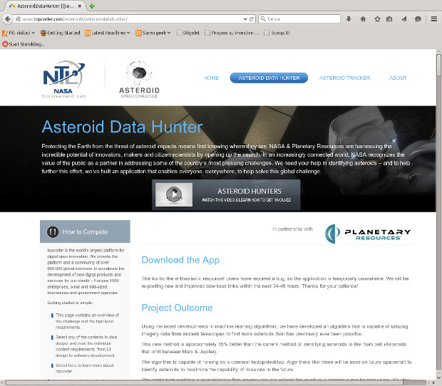 The webpage of the application to identify asteroids