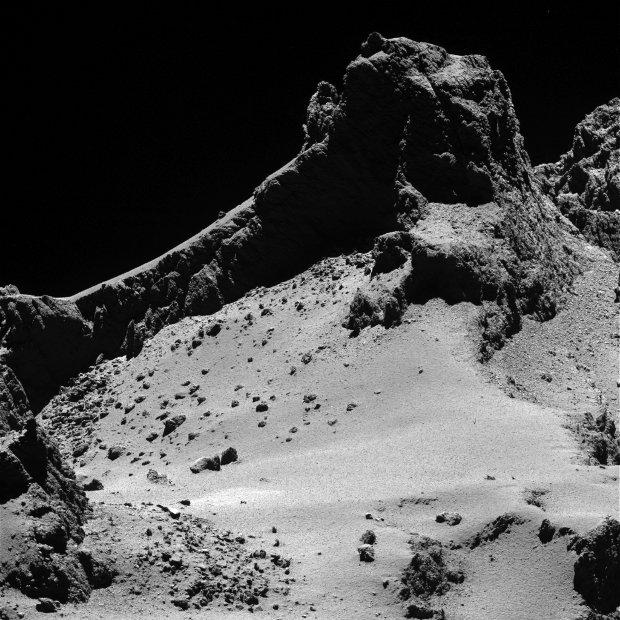 A section of the comet 67P/Churyumov–Gerasimenko's smaller lobes seen by the Rosetta space probe (Image ESA/Rosetta/MPS for OSIRIS Team MPS/UPD/LAM/IAA/SSO/INTA/UPM/DASP/IDA)
