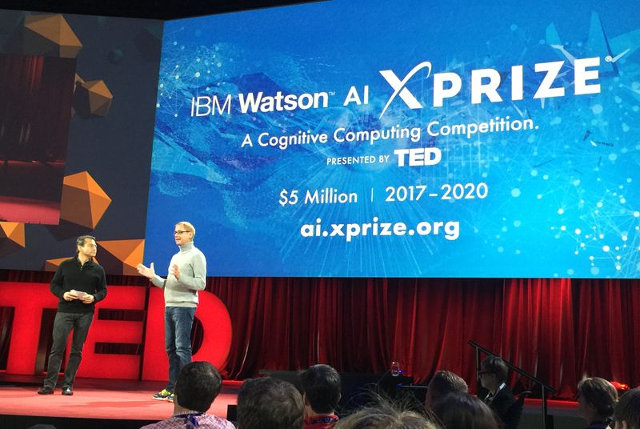 Peter Diamandis and David Kenny at the TED2016 conference (Photo courtesy IBM. All rights reserved)