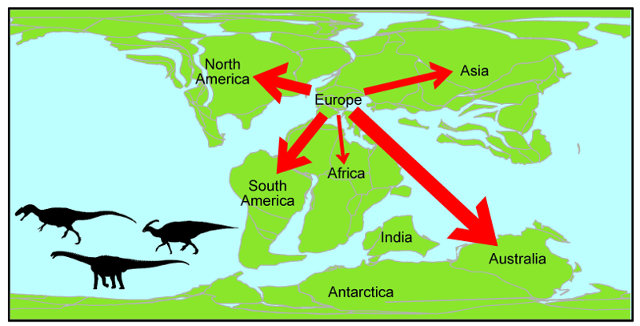 Map of the great dinosaur migration from Europe (Image courtesy Alex Dunhill, University of Leeds)