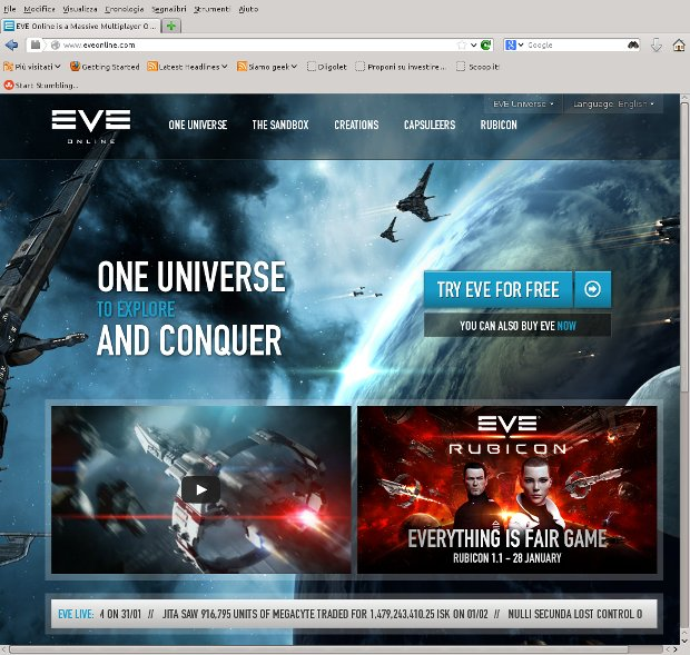 Eve Online home page