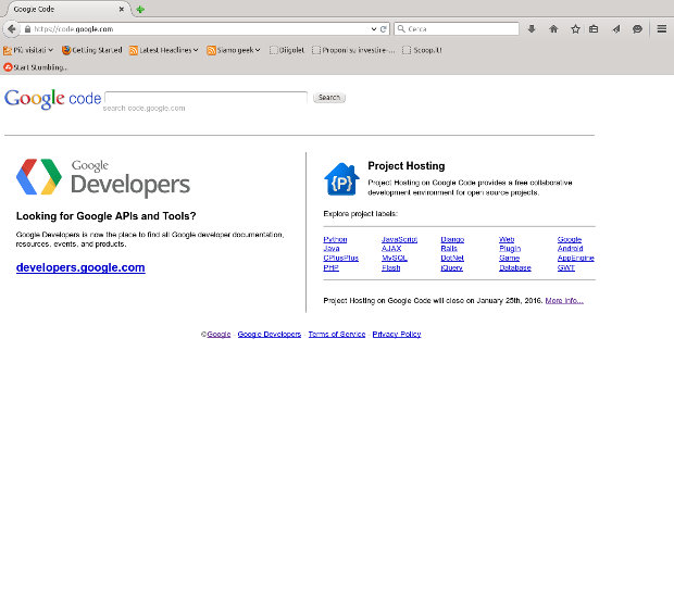 Google Code home page