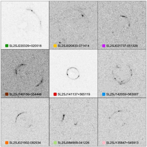 Images of galaxies taken using gravitational lenses (Image Yashar Hezaveh/Laurence Perreault Levasseur/Phil Marshall/Stanford/SLAC National Accelerator Laboratory; NASA/ESA)