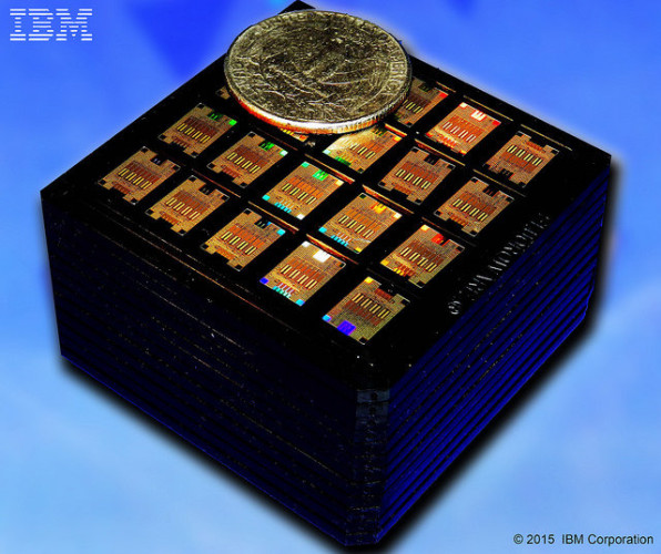 Cassette with hundreds of IBM Silicon Photonic Chips with an American coin to compare their size (Image courtesy IBM. All rights reserved)
