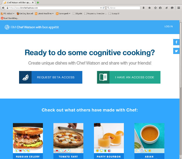 IBM Chef Watson website home page