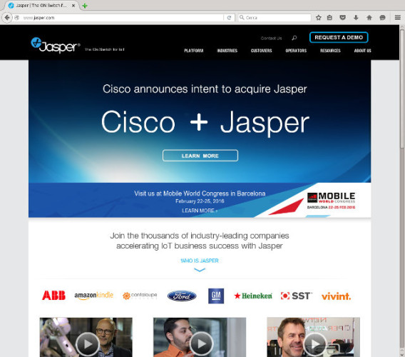 Jasper Technologies website's home page highlights the deal with Cisco