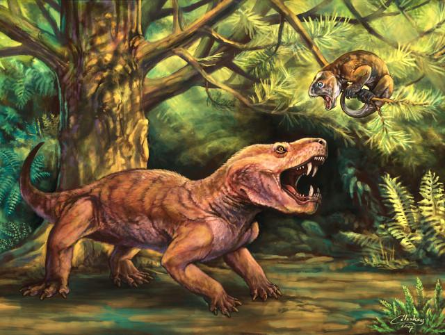 Artist's concept of Gorynychus masyutinae hunting a Suminia getmanovi (Image courtesy Matt Celeskey)