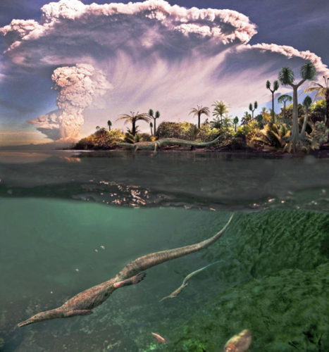 Artist's concept of Mesosaurus in its environment (Image courtesy Roman Yevseyev and Graciela Piñeiro. All rights reserved)