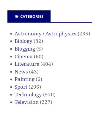 The categories on NetMassimo blog before paleontology was added