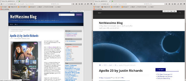 The old and the new face of NetMassimo Blog side by side