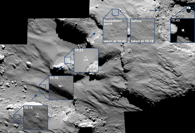 Philae's trajectory on the surface of the comet 67P/Churyumov-Gerasimenko (Image  ESA/Rosetta/MPS for OSIRIS Team MPS/UPD/LAM/IAA/SSO/INTA/UPM/DASP/IDA)