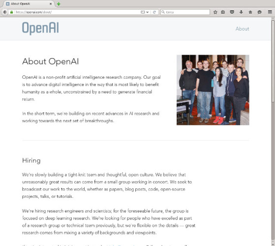 The About page on the OpenAI website