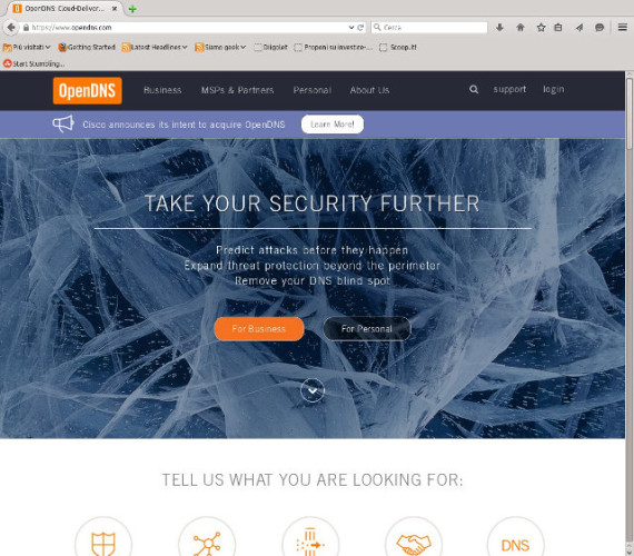 The OpenDNS website home page