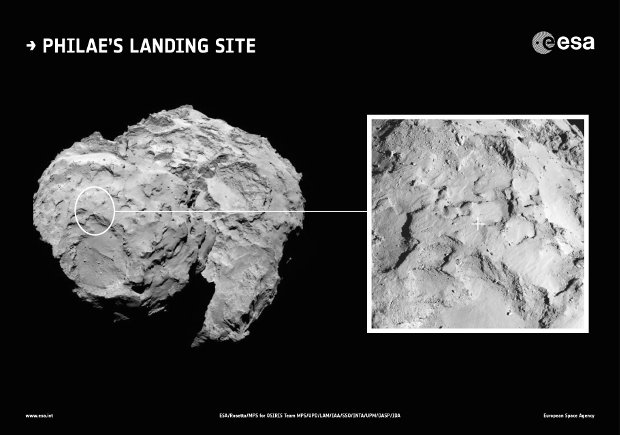Philae's primary landing site on the comet 67P/Churyumov-Gerasimenko (Image ESA/Rosetta/MPS for OSIRIS Team MPS/UPD/LAM/IAA/SSO/INTA/UPM/DASP/IDA)