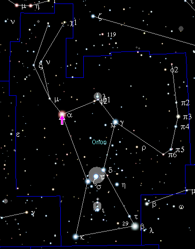 Betelgeuse in the Orion constellation