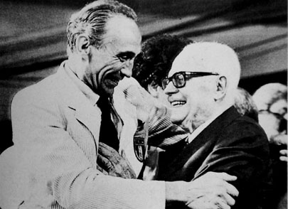 Enzo Bearzot with the President of Italy Sandro Pertini after the 1982 World Cup Final