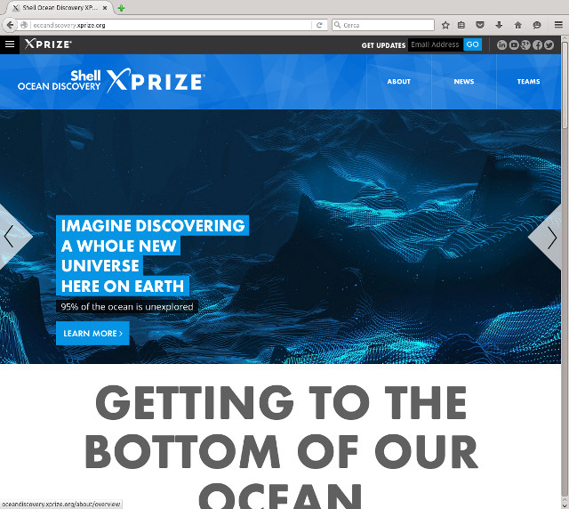 The home page of the Shell Ocean Discovery XPRIZE website