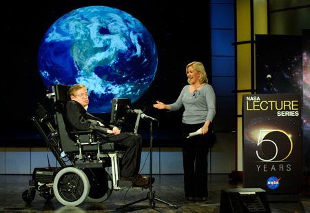 Stephen Hawking and his daughter Lucy in 2008 at NASA's 50th anniversary (Image NASA/Paul Alers)