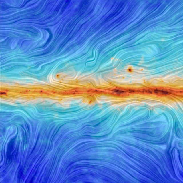 The Milky Way's magnetic field along the Galactic plane (ESA/Planck Collaboration. Acknowledgment: M.-A. Miville-Deschênes, CNRS – Institut d'Astrophysique Spatiale, Université Paris-XI, Orsay, France)