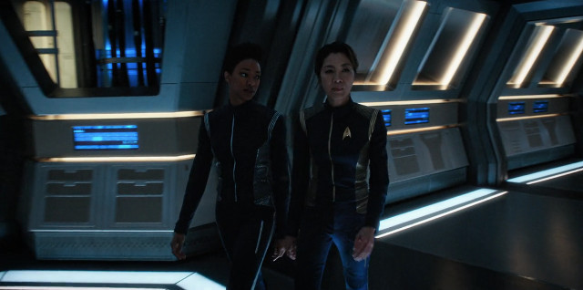 Michael Burnham (Sonequa Martin-Green) and Captain Philippa Georgiou (Michelle Yeoh) in Will You Take My Hand? (Image courtesy CBS / Netflix)