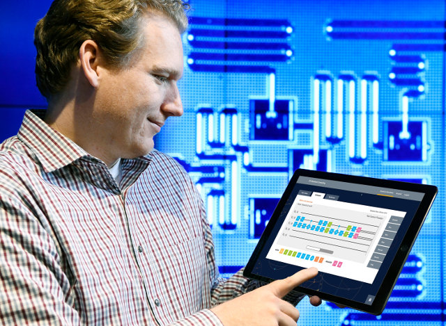 IBM Quantum Computing Scientist Jay Gambetta uses a tablet to interact with the IBM Quantum Experience (Photo Jon Simon/Feature Photo Service for IBM)