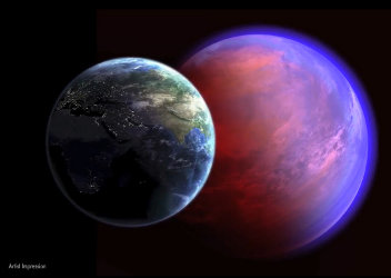 Artist's concept of the planet 55 Cancri e behind the Earth (Image NASA)