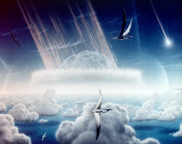 Artist's rendering of Chicxulub impact (Immagine Donald E. Davis/NASA/JPL)