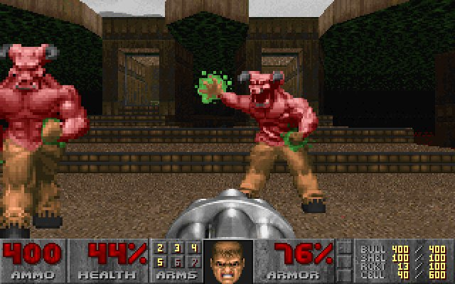 Screenshot from the last level of the first episode of Doom