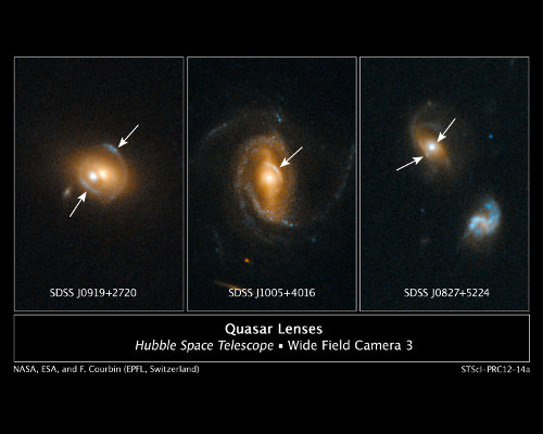 Galaxies SDSS J0919+2720, SDSS J1005+4016, and SDSS J0827+5224 contain quasars acting as gravitational lenses (Image NASA, ESA, and F. Courbin (EPFL, Switzerland))