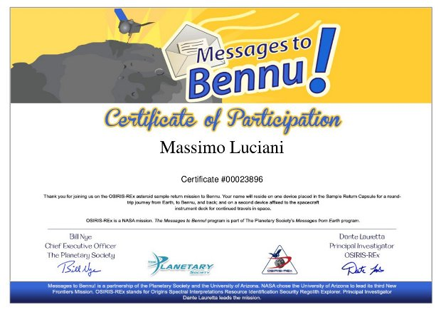 My certificate of participation to the Messages to Bennu program
