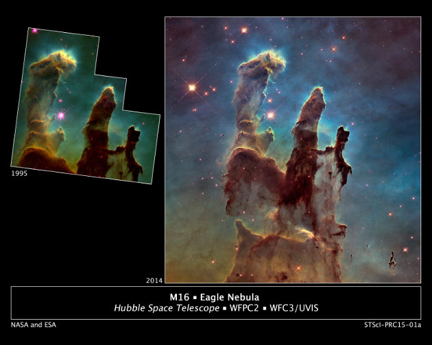 The new picture of the Pillars of Creation captured by the Hubble Space Telescope compared to the 1995 one (Photo NASA/ESA/Hubble Heritage Team (STScI/AURA)/J. Hester, P. Scowen (Arizona State U.))