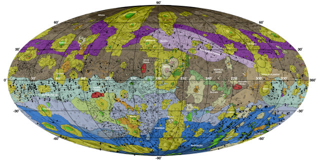 Geological map of the giant asteroid Vesta. Brown colors represent the oldest, most heavily cratered surface. Purple colors in the north and light blue represent terrains modified by the Veneneia and Rheasilvia impacts, respectively. Light purples and dark blue colors below the equator represent the interior of the Rheasilvia and Veneneia basins. Greens and yellows represent relatively young landslides or other downhill movement and crater impact materials, respectively (Image NASA/JPL-Caltech/ASU)