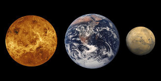 From the left: Venus, Earth, Mars. A comparison of their sizes (image NASA)