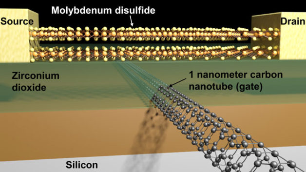 Schematic of a transistor made of carbon nanotubes and molybdenum disulfide (Image courtesy Sujay Desai/UC Berkeley)