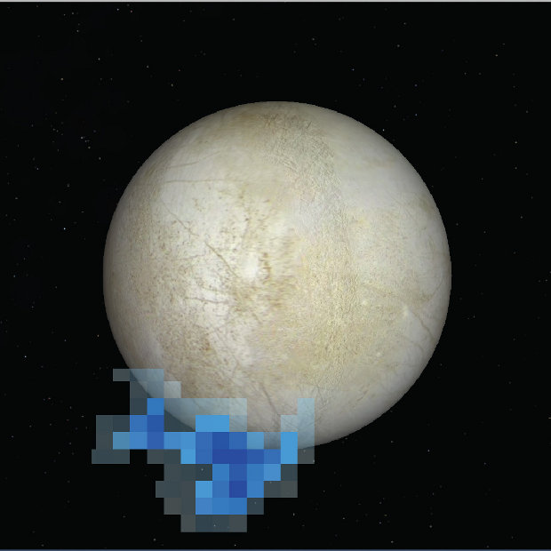 Image showing the location of water vapor plumes on Europa detected by the Hubble Space Telescope (Image NASA/ESA/L. Roth/SWRI/University of Cologne)