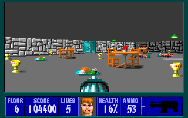 Wolfenstein 3D screenshot showing food, treasures and dead Nazis
